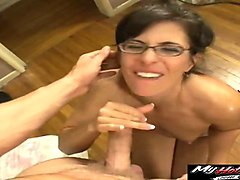mature chick with glasses seduces two hunks for a fuck