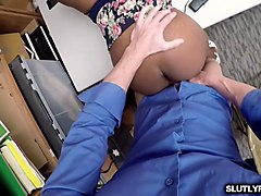 daya knight rides her ebony pussy on lp officers cock