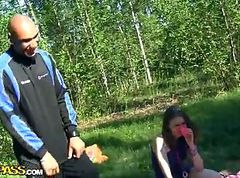 Hot group sex with cute russian teens in the forest.