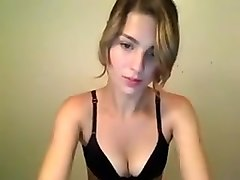 Naughty blonde on webcam stripping and teasing with her horny pussy