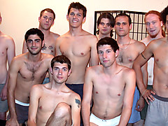 Adam Loren & Aires & Ayley Nyce & Clay Costley & Cody Marsh & Cory Woodall & D.J. in Gay Bukkake Party Scene 3 - Bromo