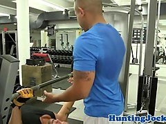 black stud assfucked at gym by white cock