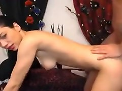 Skinny brunette gets her pussy drilled deep and mouth full of cum