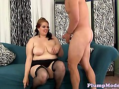 redhead bbw in stockings pounded on the sofa