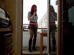 Sandralein redheat in school college girl outfit smoking on Balkon