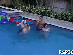 cute babes have a kinky sex party in the pool