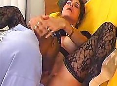 Old white whore gets her hole plugged with a black meat pole