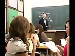helpless teacher has a group of lustful babes sharing his h