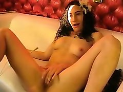 kinky brown-haired house wife is having fun with her small