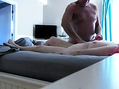 old hairy chubby man was drilling slutty amateur busty woman missionary