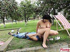 chubby babe with big tits sits on face outdoors