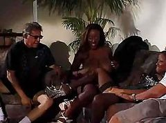Two black sluts get fucked by a white guy and his white hard cock