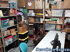 naughty shoplifter fucks with a mall cop in his office