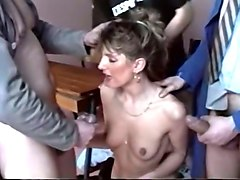 filthy and skinny white milf gangbanged and jizzed with cum