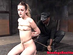 bound bdsm teen gets pegs on body