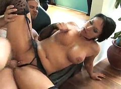 Busty Milf In Stockings Gets Her Man To Cum Hard