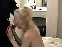 White blonde wife wears heels during interracial fuck