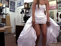 horny blonde bride swallows giant shaved long sword in pov