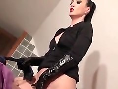 anal with leather gloves and thigh boots