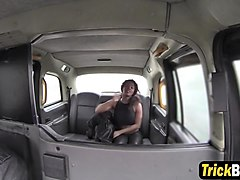 ebony slut gets banged by white cock in a fake taxi
