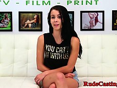 squirting teen gagging at brutal casting