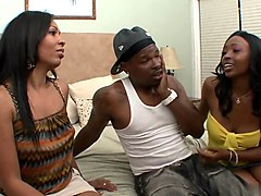 lucky black guy gets to fuck a milf and a teen ebony