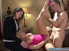 pussylicking cfnm babes drilled in mff trio