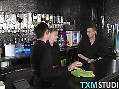 hot and horny big dick twinks fucking behind the bar
