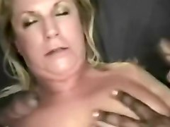 Chubby blonde milf sucks and fucks with two black guys
