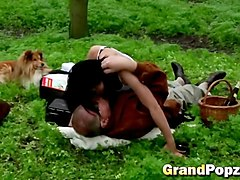 dirty old grandpa fucking teen babe in the forest