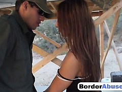 brunette latina babe fucked by a horny border agent