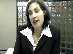 Mature brunette sucks hard cock at job interview