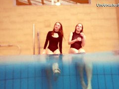 diana and simonna two oustanding teens in the pool