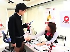 naughty japanese lady puts her skillful hands to work on a