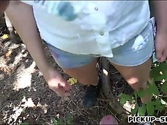 amateur czech babe gets fucked in the woods for cash