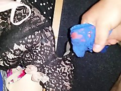 cum in allison blue thong and baileys pink g string