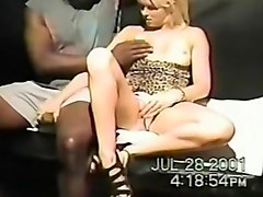 Blonde bitch with black guy sucking his black beefy dick and gets pussy drilled deep