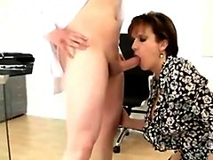 Pretty British brunette MILF in stockings sucks and fucks