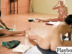 yoga teacher doing yoga with two hotties while naked