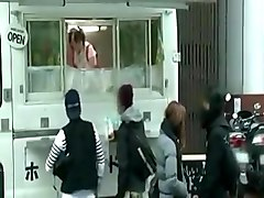 Japanese girl fucked while serving food in public