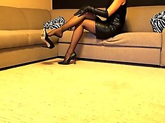 Stockings high heels leather boots