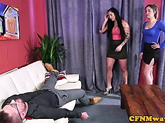 busty cfnm femdoms jerking in cfnm threesome