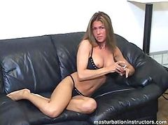 Mistress shows her tits and rubs herself for a little tease
