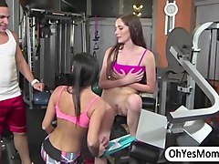 horny fitness instructor gets two of his hot fitness models to bang