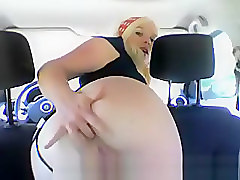Hot Scandinavian girl nude in car