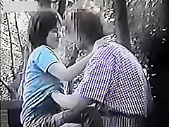 Naughty young couple caught on outdoor voyeur