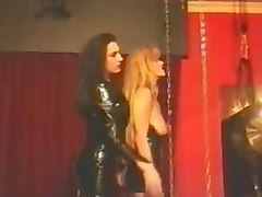 Pvc and latex two females strapon