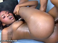 Oso Lovely & Rock in Ebony Goddess Gets A Big Cock And A Creampie - MMM100