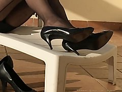 Play with my black nyloned heels