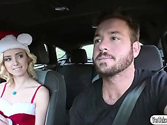 blonde chick haley reed fucks with a stranger inside his car